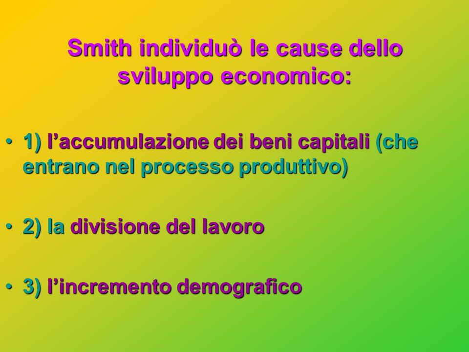 Adam Smith (1723 - 1790) OPERA: La ricchezza delle Nazioni 1776