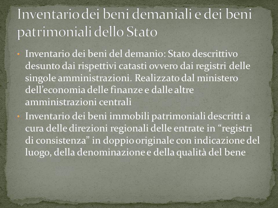 Inventario dei beni del demanio: Stato descrittivo desunto dai rispettivi catasti ovvero dai registri delle singole amministrazioni.