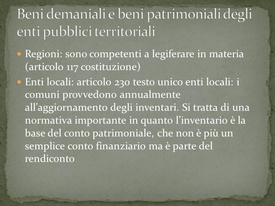 Regioni: sono competenti a legiferare in materia (articolo 117 costituzione) Enti locali: articolo 230 testo unico enti locali: i comuni provvedono annualmente allaggiornamento degli inventari.
