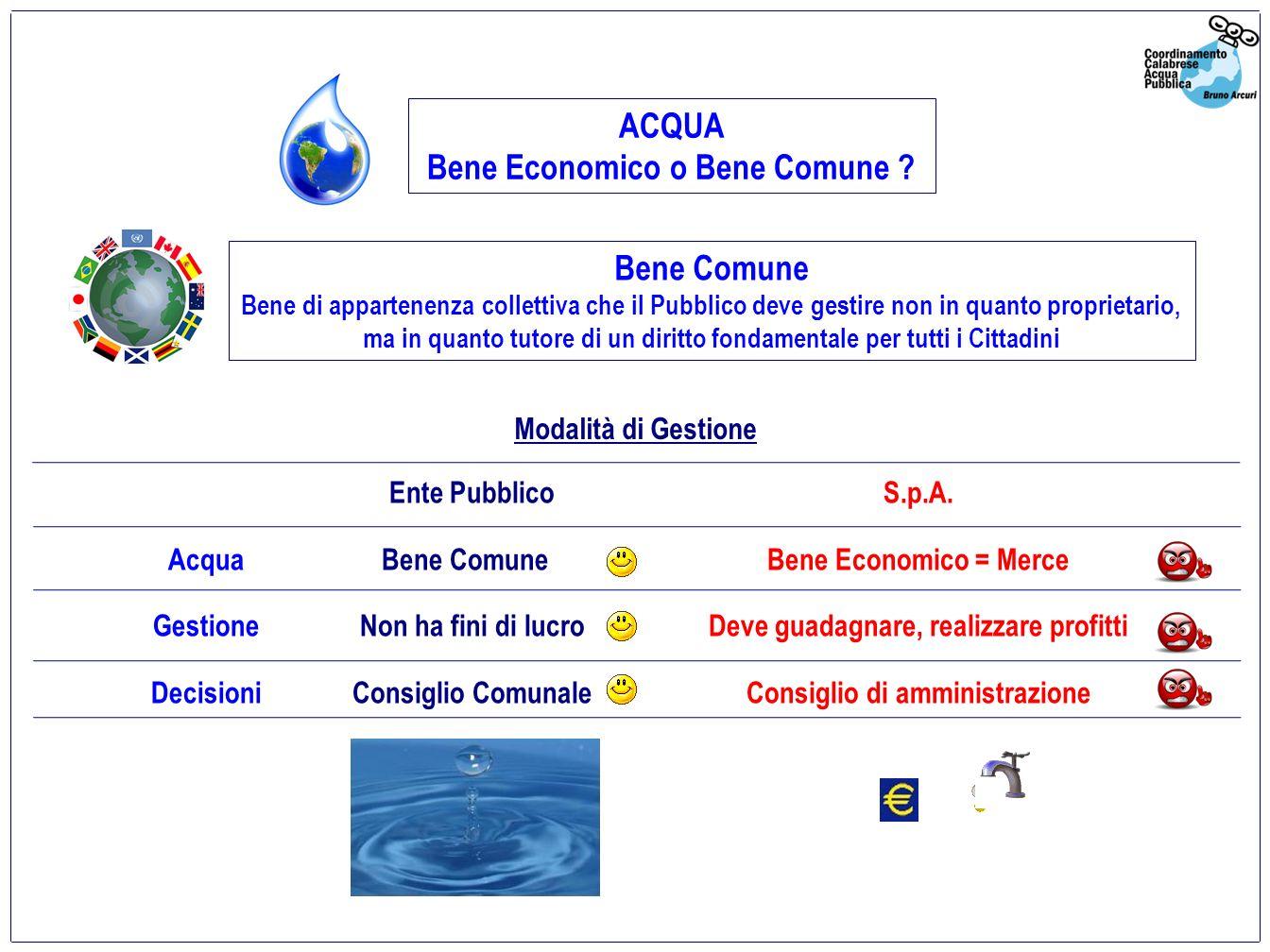 Aumento dei consumi nellultimo decennio Conseguenze in Italia della Gestione degli Acquedotti affidata ad una S.p.A.
