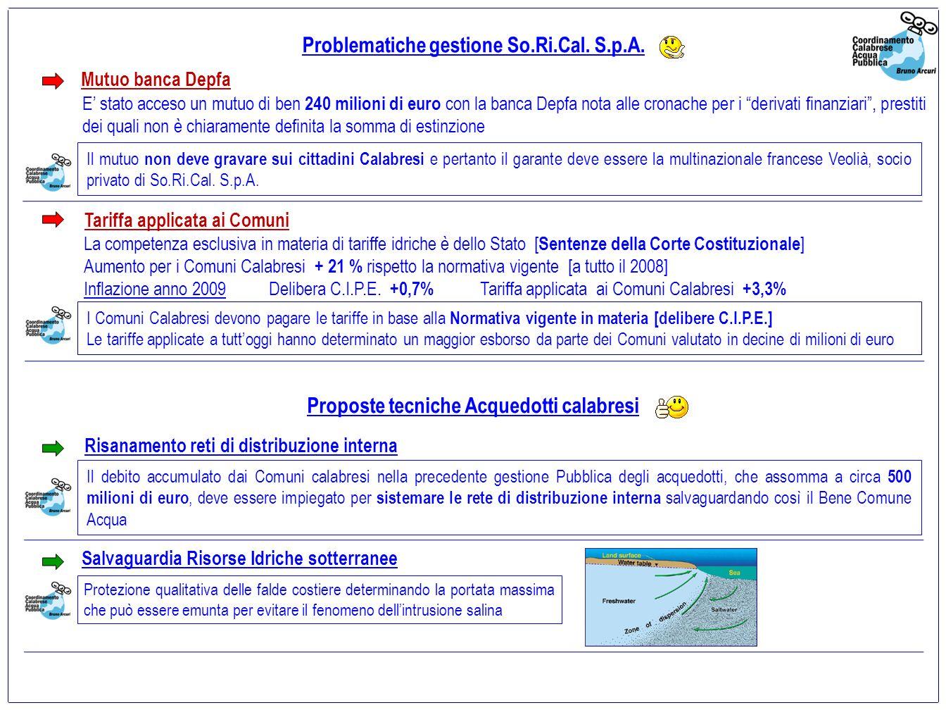 Ma la gestione della So.Ri.Cal.S.p.A. riduce le dispersioni di risorsa idrica in Calabria.