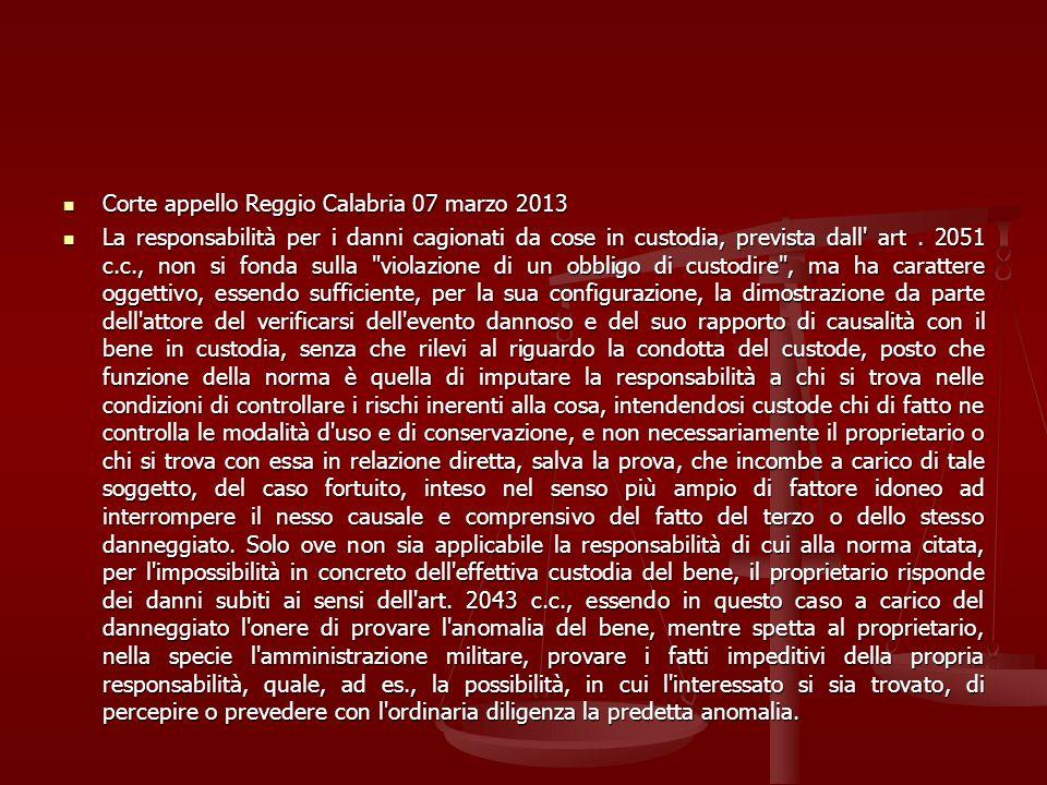Corte appello Reggio Calabria 07 marzo 2013 Corte appello Reggio Calabria 07 marzo 2013 La responsabilità per i danni cagionati da cose in custodia, p
