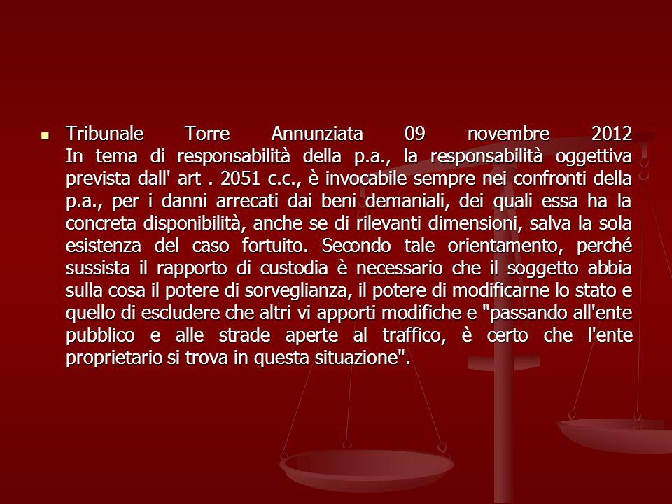 Tribunale Torre Annunziata 09 novembre 2012 In tema di responsabilità della p.a., la responsabilità oggettiva prevista dall' art. 2051 c.c., è invocab