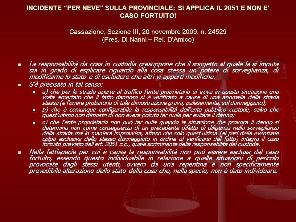 INCIDENTE PER NEVE SULLA PROVINCIALE: SI APPLICA IL 2051 E NON E CASO FORTUITO! Cassazione, Sezione III, 20 novembre 2009, n. 24529 (Pres. Di Nanni –