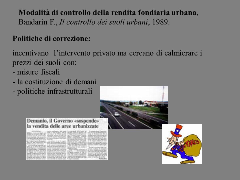 Modalità di controllo della rendita fondiaria urbana, Bandarin F., Il controllo dei suoli urbani, 1989. Politiche di correzione: incentivano linterven