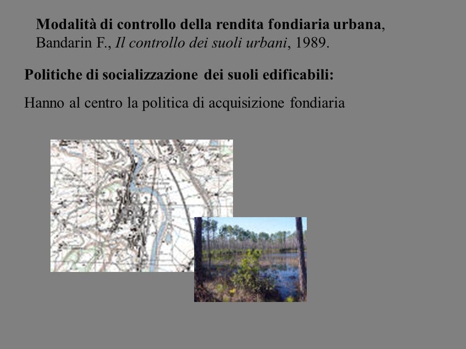 Modalità di controllo della rendita fondiaria urbana, Bandarin F., Il controllo dei suoli urbani, 1989. Politiche di socializzazione dei suoli edifica