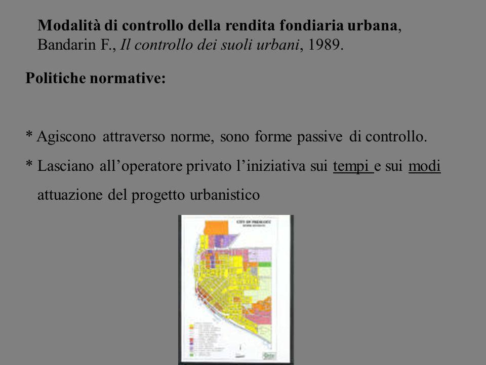 Modalità di controllo della rendita fondiaria urbana, Bandarin F., Il controllo dei suoli urbani, 1989. Politiche normative: * Agiscono attraverso nor