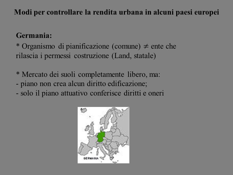 Modi per controllare la rendita urbana in alcuni paesi europei Germania: * Organismo di pianificazione (comune) ente che rilascia i permessi costruzio