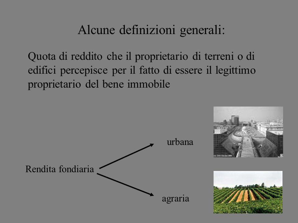 Alcune definizioni generali: Rendita fondiaria agraria urbana Quota di reddito che il proprietario di terreni o di edifici percepisce per il fatto di