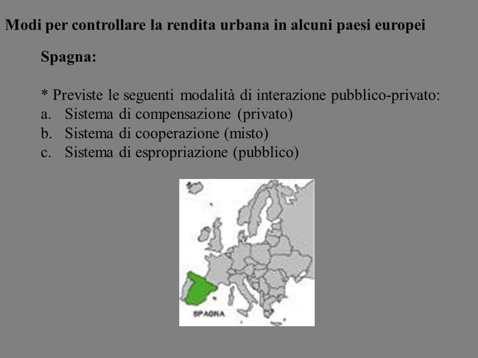 Spagna: * Previste le seguenti modalità di interazione pubblico-privato: a.Sistema di compensazione (privato) b.Sistema di cooperazione (misto) c.Sist
