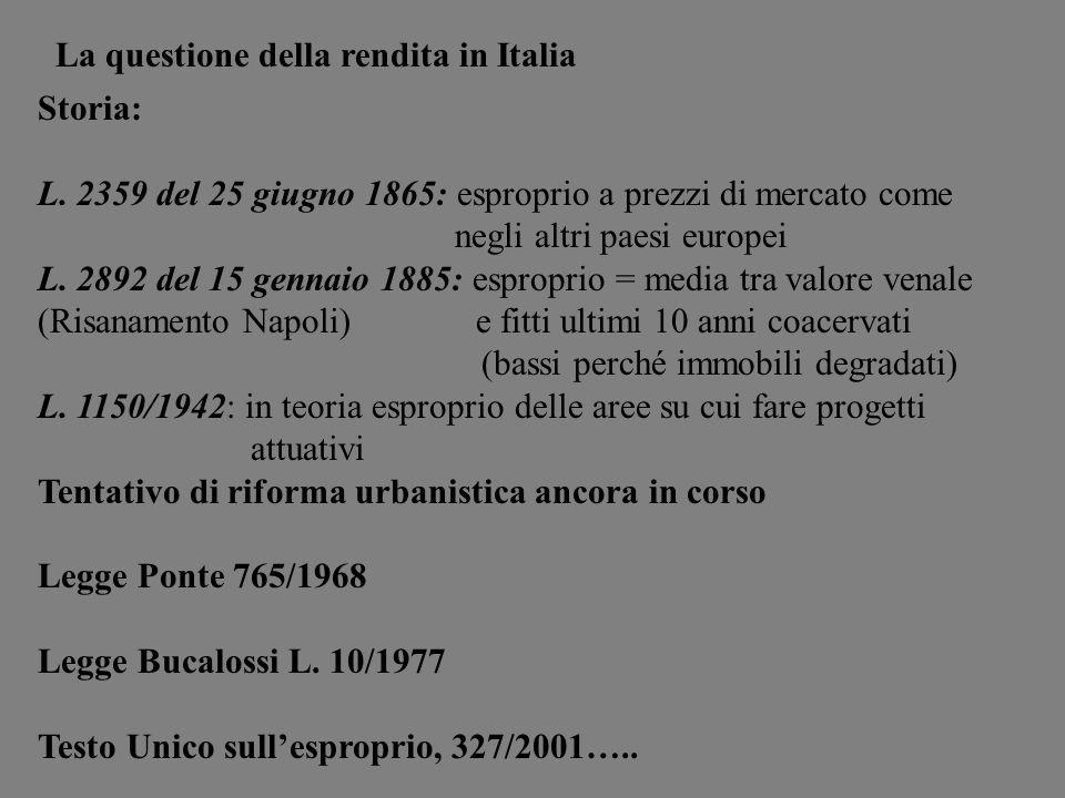 Storia: L. 2359 del 25 giugno 1865: esproprio a prezzi di mercato come negli altri paesi europei L. 2892 del 15 gennaio 1885: esproprio = media tra va