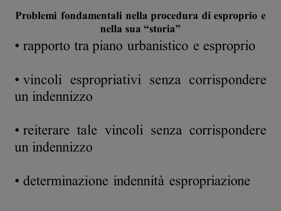 Problemi fondamentali nella procedura di esproprio e nella sua storia rapporto tra piano urbanistico e esproprio vincoli espropriativi senza corrispon