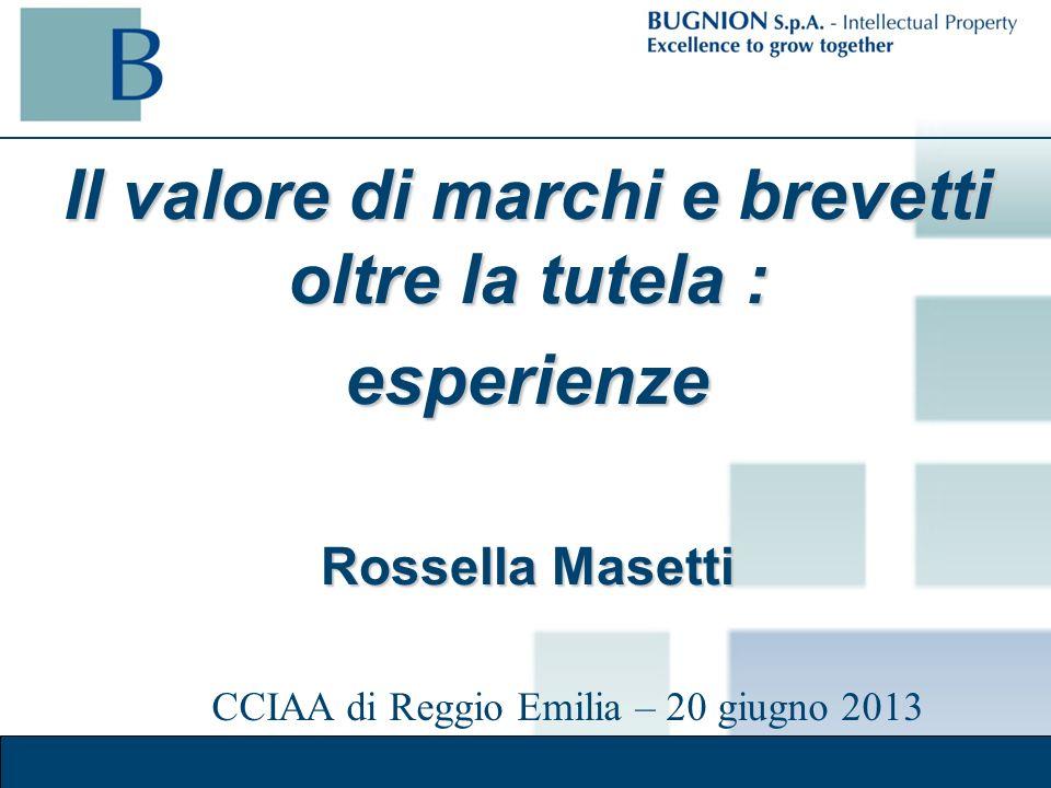 Il valore di marchi e brevetti oltre la tutela : esperienze Rossella Masetti CCIAA di Reggio Emilia – 20 giugno 2013