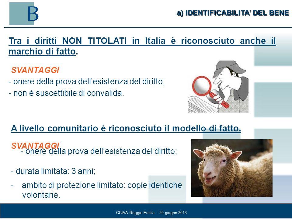 a) IDENTIFICABILITA DEL BENE Tra i diritti NON TITOLATI in Italia è riconosciuto anche il marchio di fatto.