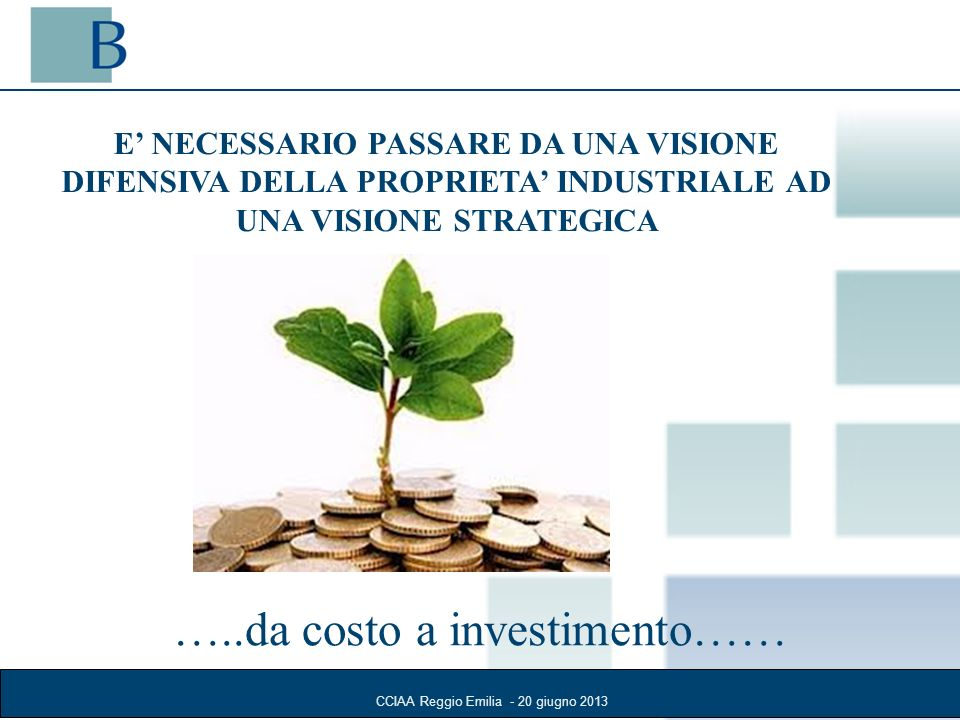 CCIAA Reggio Emilia - 20 giugno 2013 E NECESSARIO PASSARE DA UNA VISIONE DIFENSIVA DELLA PROPRIETA INDUSTRIALE AD UNA VISIONE STRATEGICA …..da costo a investimento……