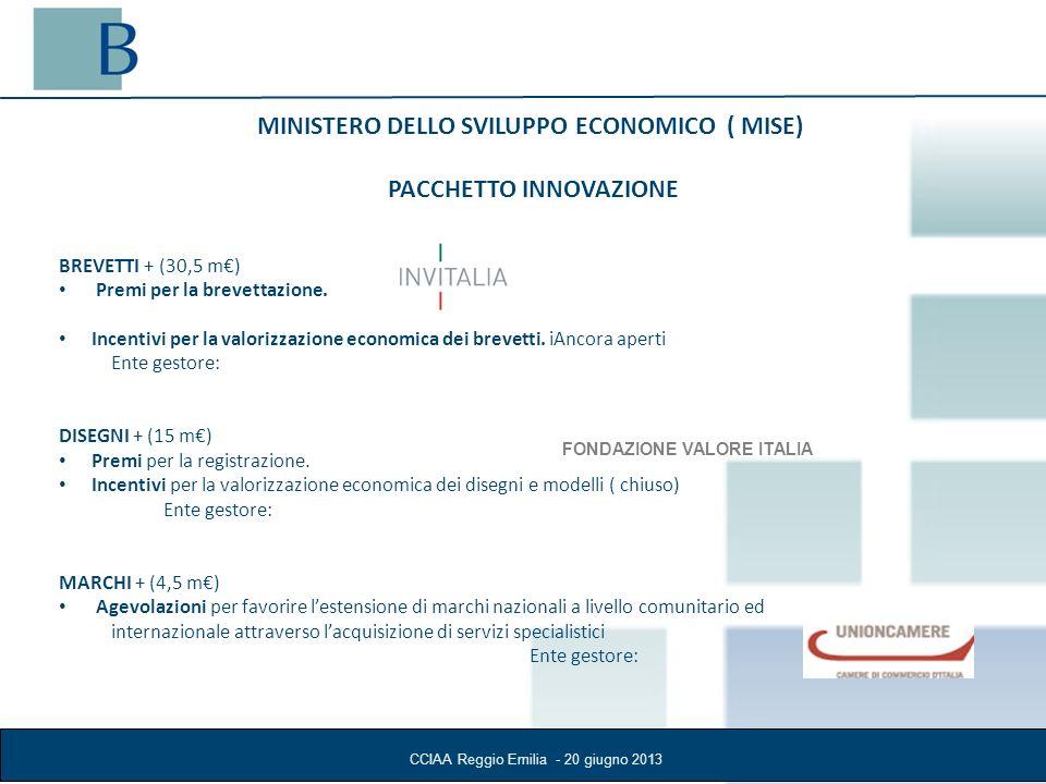 CCIAA Reggio Emilia - 20 giugno 2013 Con il Fondo Nazionale Innovazione il MISE, attraverso la compartecipazione delle risorse pubbliche (60 m) in operazioni finanziarie progettate, co finanziate e gestite dagli intermediari finanziari, mira a rafforzare la capacità competitiva delle PMI attraverso la valorizzazione economica dei titoli di proprietà industriale per favorire lintroduzione sul mercato di prodotti e servizi innovativi ad essi collegati.