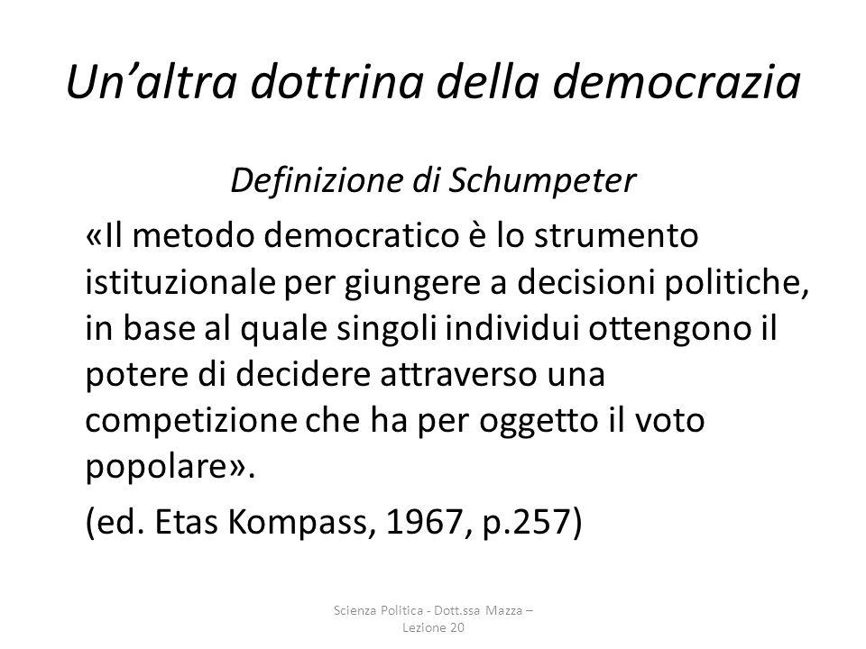 Unaltra dottrina della democrazia Elementi caratteristici 1)Voto elettorale ha la funzione di creare un Governo (popolo non decide su questioni specifiche, ma sceglie solo propri rappresentanti).