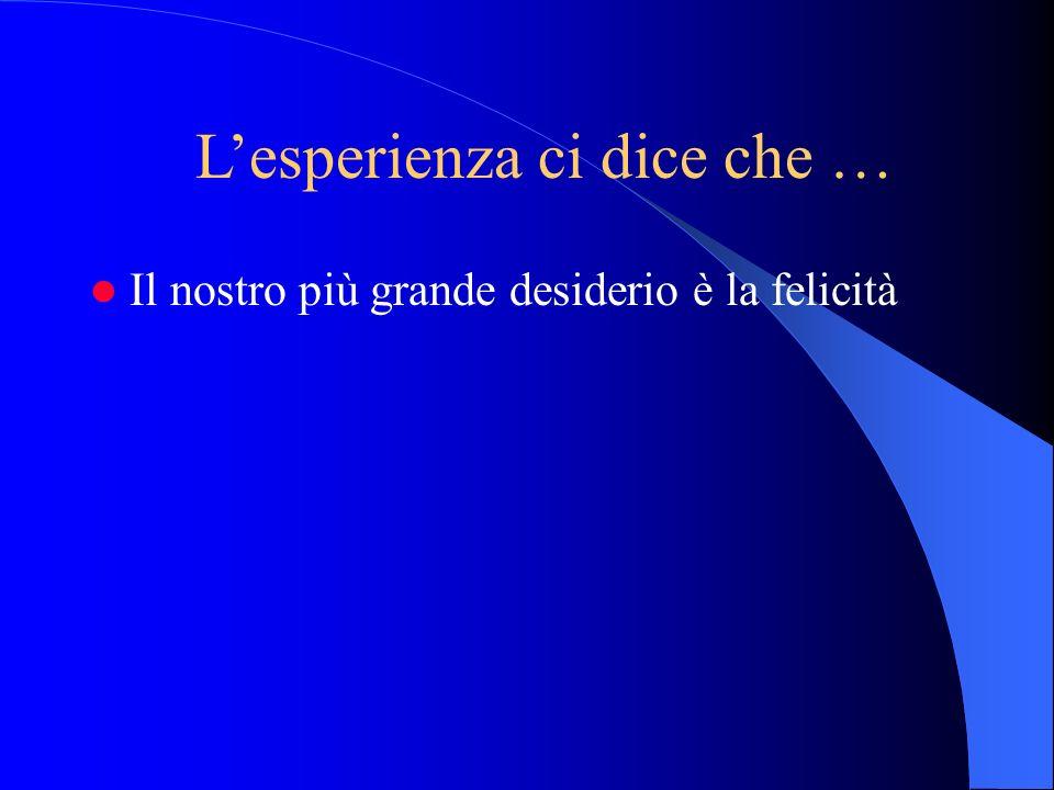 Il nostro più grande desiderio è la felicità Lesperienza ci dice che …