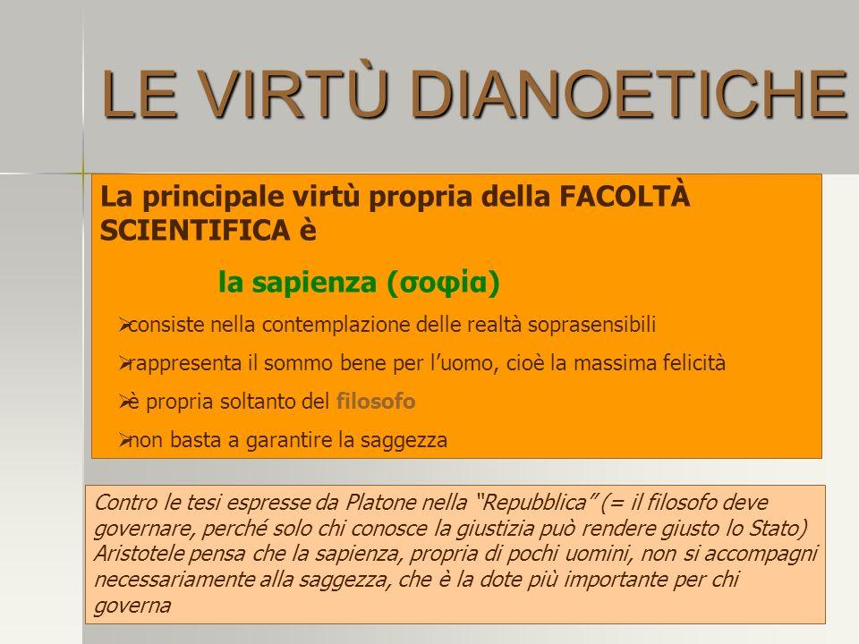 LE VIRTÙ DIANOETICHE La principale virtù propria della FACOLTÀ SCIENTIFICA è la sapienza (σοφία) consiste nella contemplazione delle realtà soprasensi