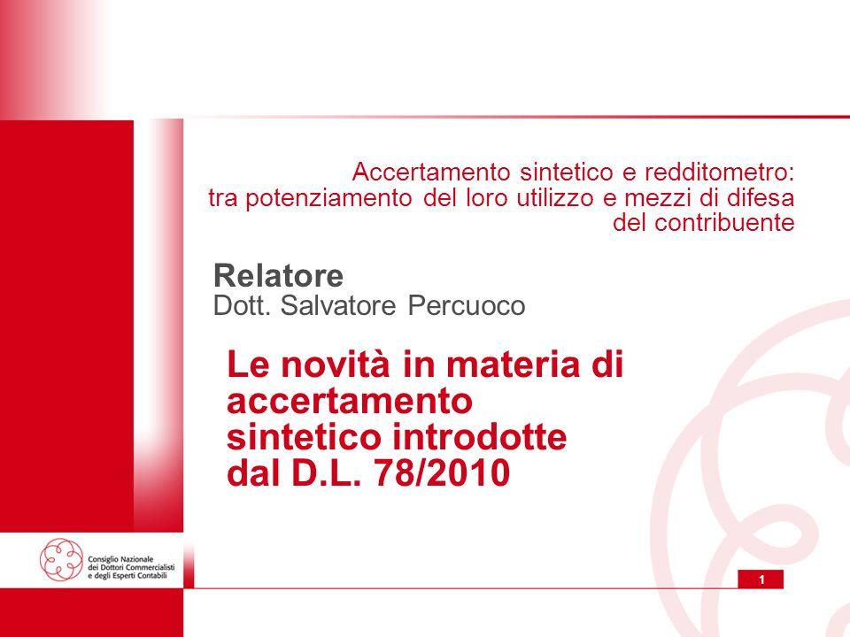 12 Accertamento sintetico e redditometro accertamento sintetico e redditometro in vigore sino ai redditi 2008