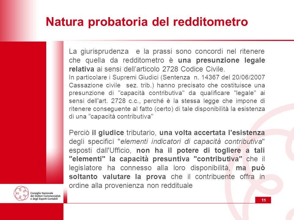 11 Natura probatoria del redditometro La giurisprudenza e la prassi sono concordi nel ritenere che quella da redditometro è una presunzione legale relativa ai sensi dellarticolo 2728 Codice Civile.