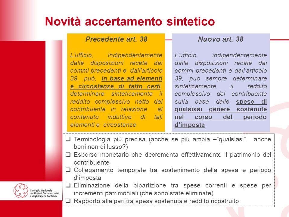 31 Novità accertamento sintetico Nuovo art.