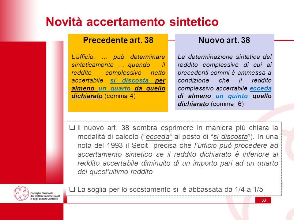 33 Novità accertamento sintetico Nuovo art.