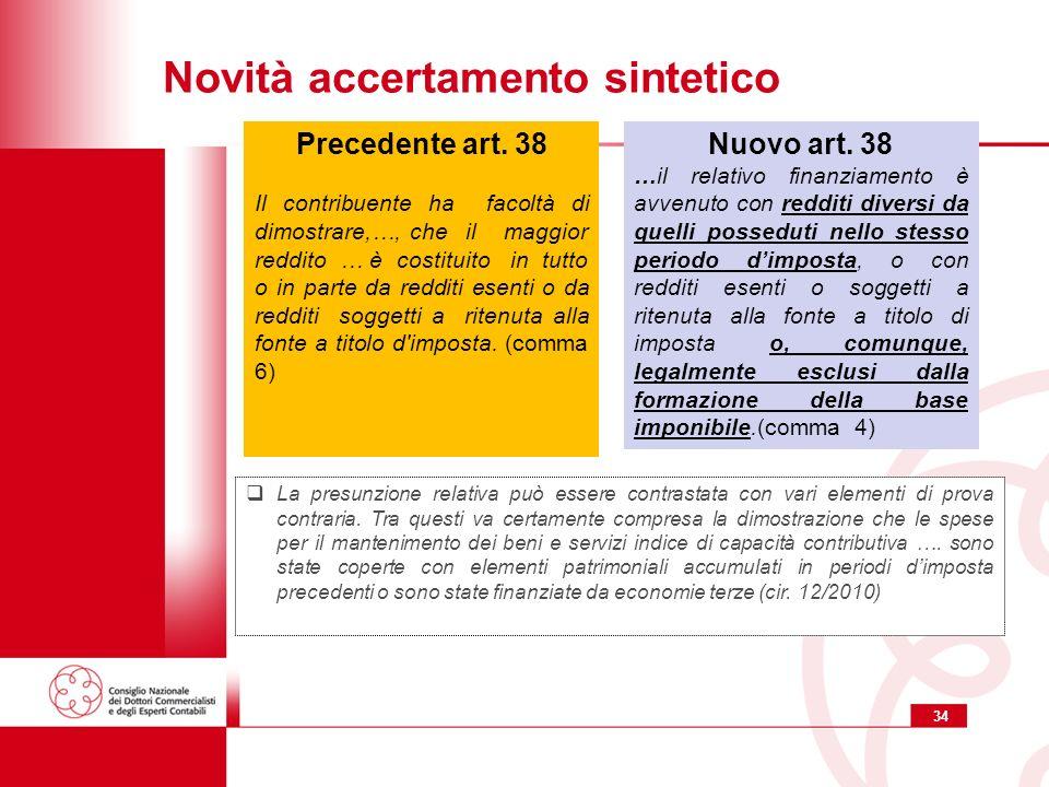 34 Novità accertamento sintetico Nuovo art.