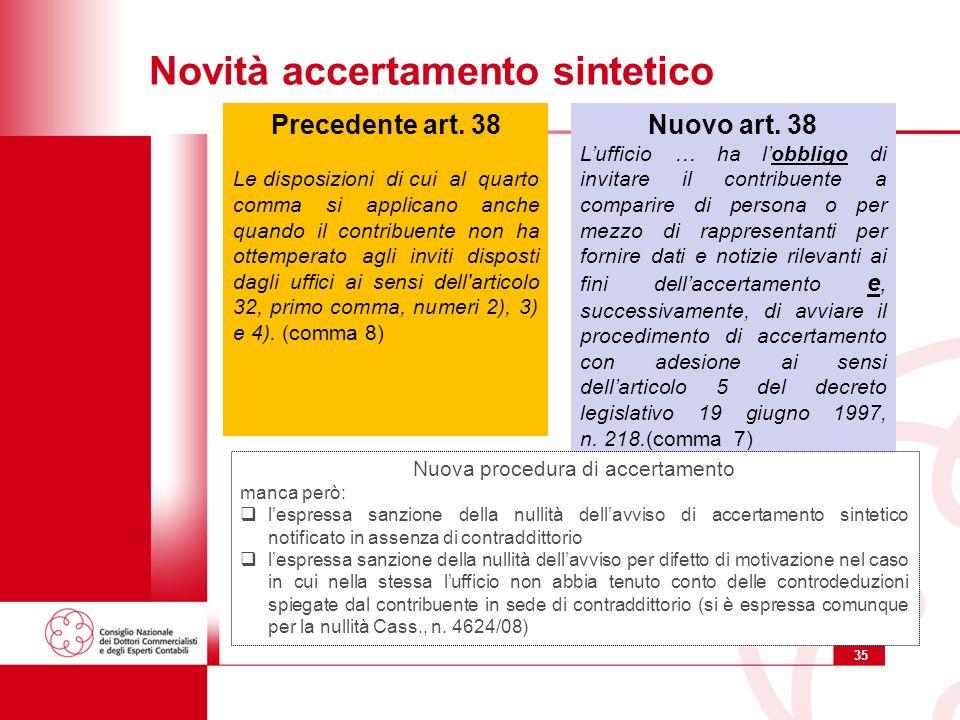 35 Novità accertamento sintetico Nuovo art.