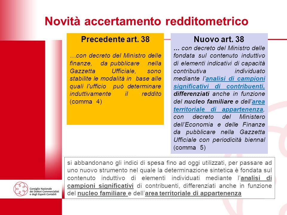 38 Novità accertamento redditometrico Nuovo art.