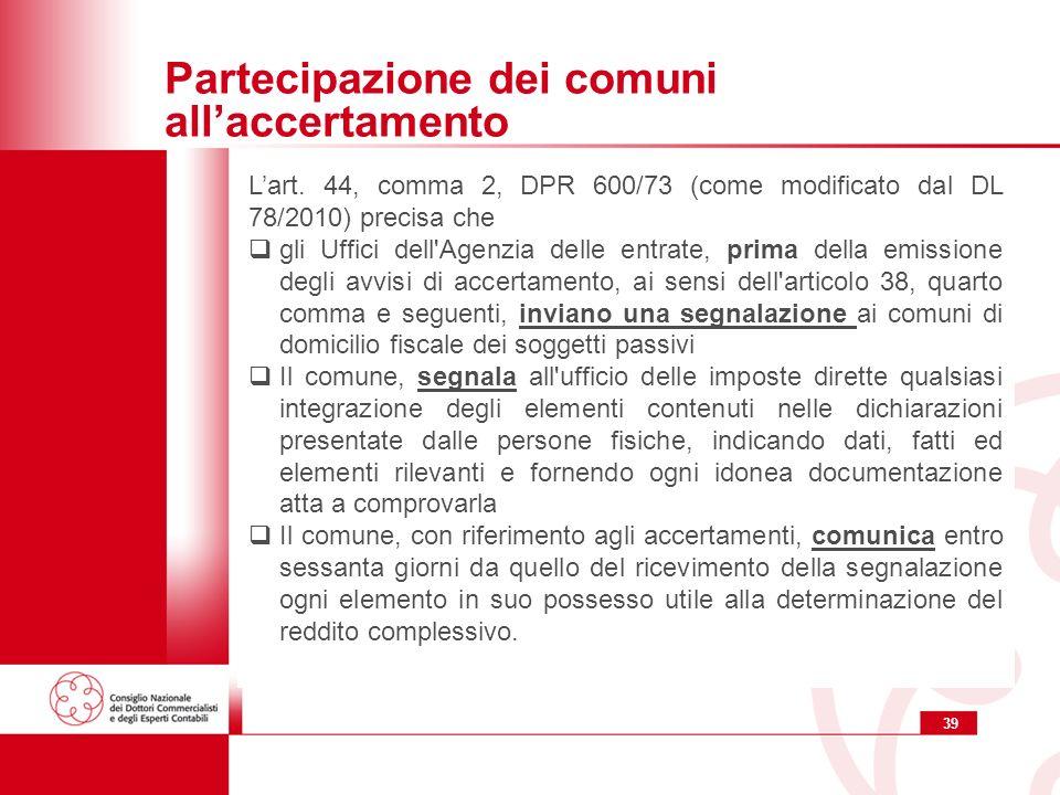 39 Partecipazione dei comuni allaccertamento Lart.