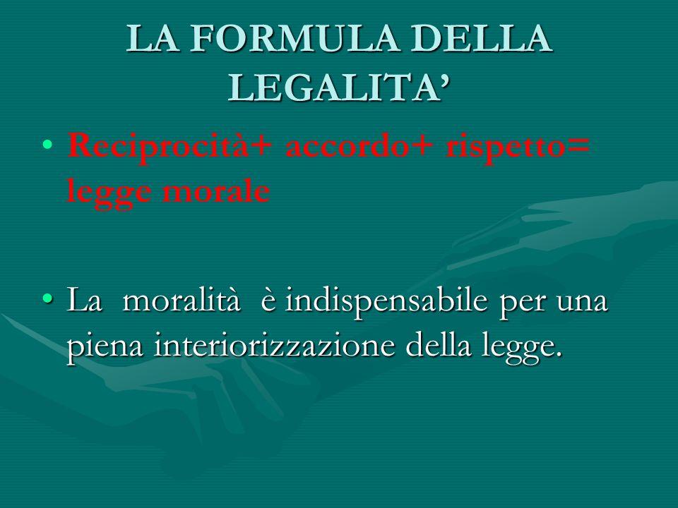 LA FORMULA DELLA LEGALITA Reciprocità+ accordo+ rispetto= legge morale La moralità è indispensabile per una piena interiorizzazione della legge.La mor