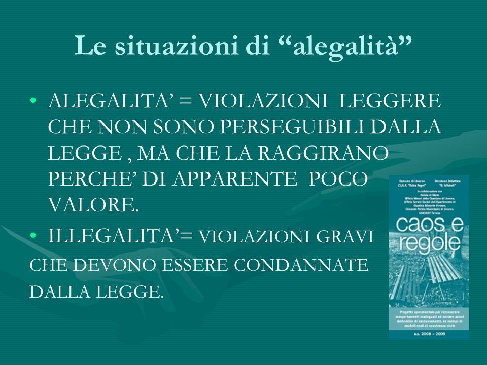 Le situazioni di alegalità ALEGALITA = VIOLAZIONI LEGGERE CHE NON SONO PERSEGUIBILI DALLA LEGGE, MA CHE LA RAGGIRANO PERCHE DI APPARENTE POCO VALORE.
