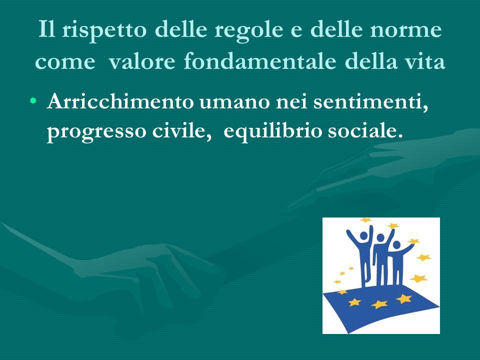 Il rispetto delle regole e delle norme come valore fondamentale della vita Arricchimento umano nei sentimenti, progresso civile, equilibrio sociale.