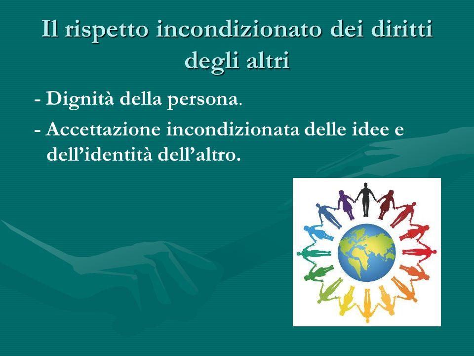 Il rispetto incondizionato dei diritti degli altri - Dignità della persona. - Accettazione incondizionata delle idee e dellidentità dellaltro.