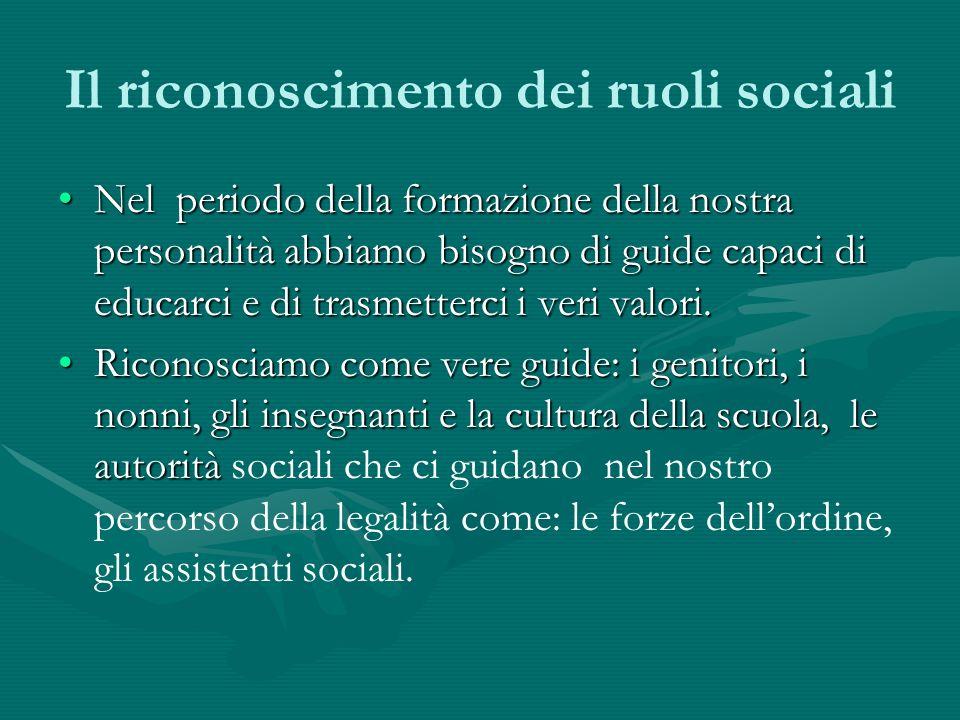 Il riconoscimento dei ruoli sociali Nel periodo della formazione della nostra personalità abbiamo bisogno di guide capaci di educarci e di trasmetterc