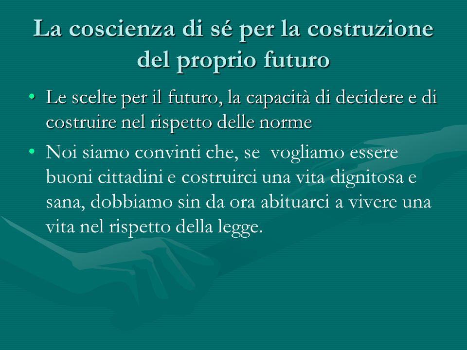 La coscienza di sé per la costruzione del proprio futuro Le scelte per il futuro, la capacità di decidere e di costruire nel rispetto delle normeLe sc