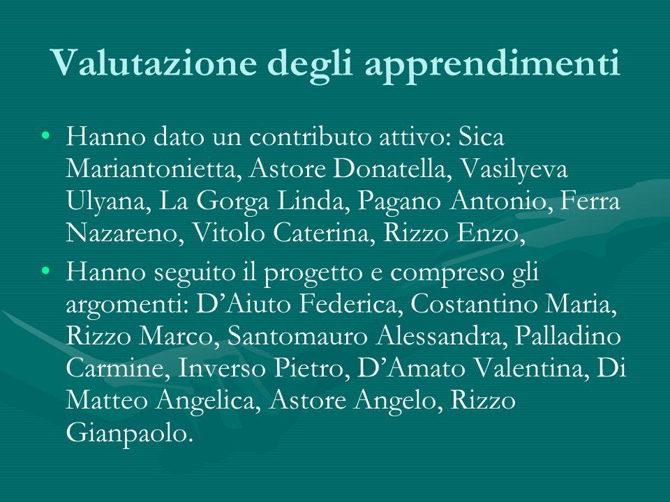 Valutazione degli apprendimenti Hanno dato un contributo attivo: Sica Mariantonietta, Astore Donatella, Vasilyeva Ulyana, La Gorga Linda, Pagano Anton