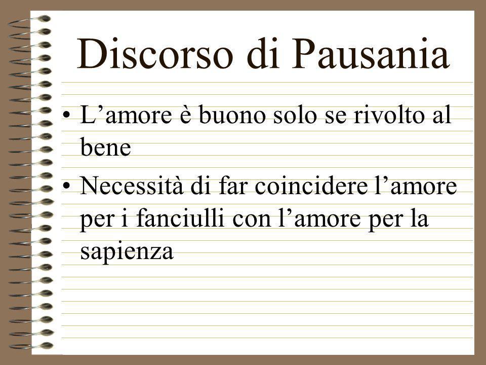 Discorso di Pausania Lamore è buono solo se rivolto al bene Necessità di far coincidere lamore per i fanciulli con lamore per la sapienza