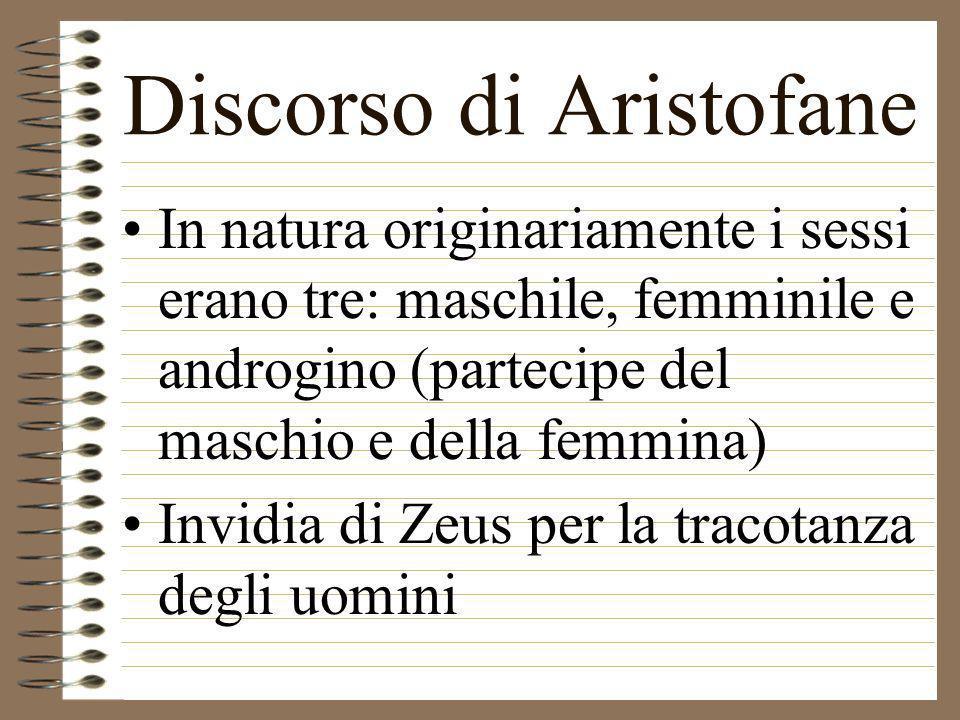 In natura originariamente i sessi erano tre: maschile, femminile e androgino (partecipe del maschio e della femmina) Invidia di Zeus per la tracotanza