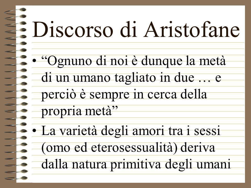 Discorso di Aristofane Ognuno di noi è dunque la metà di un umano tagliato in due … e perciò è sempre in cerca della propria metà La varietà degli amo