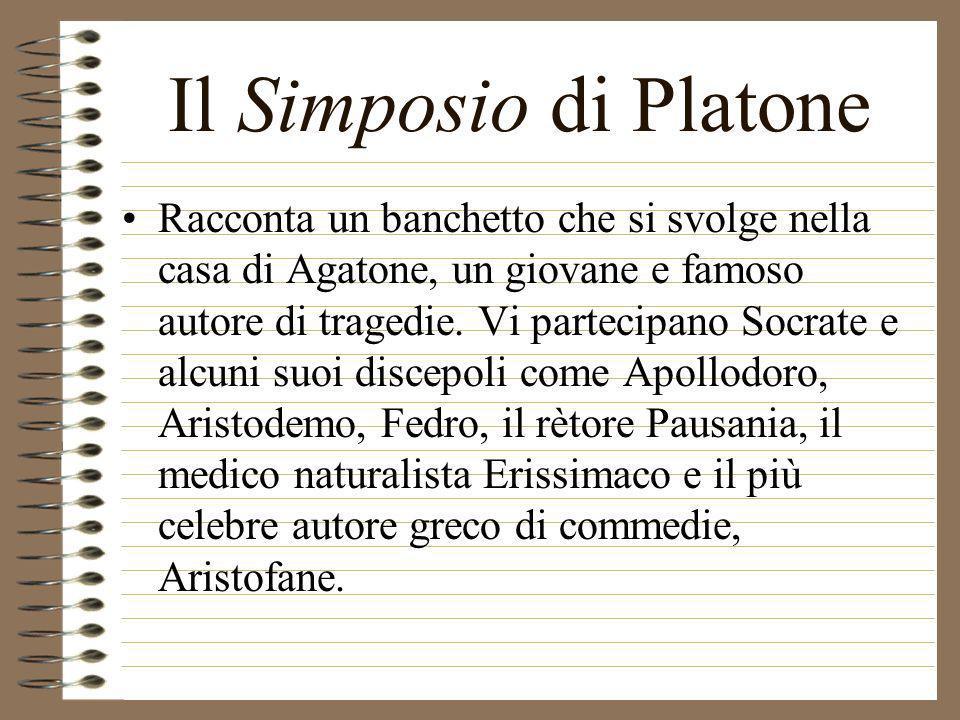 Il Simposio di Platone Racconta un banchetto che si svolge nella casa di Agatone, un giovane e famoso autore di tragedie. Vi partecipano Socrate e alc