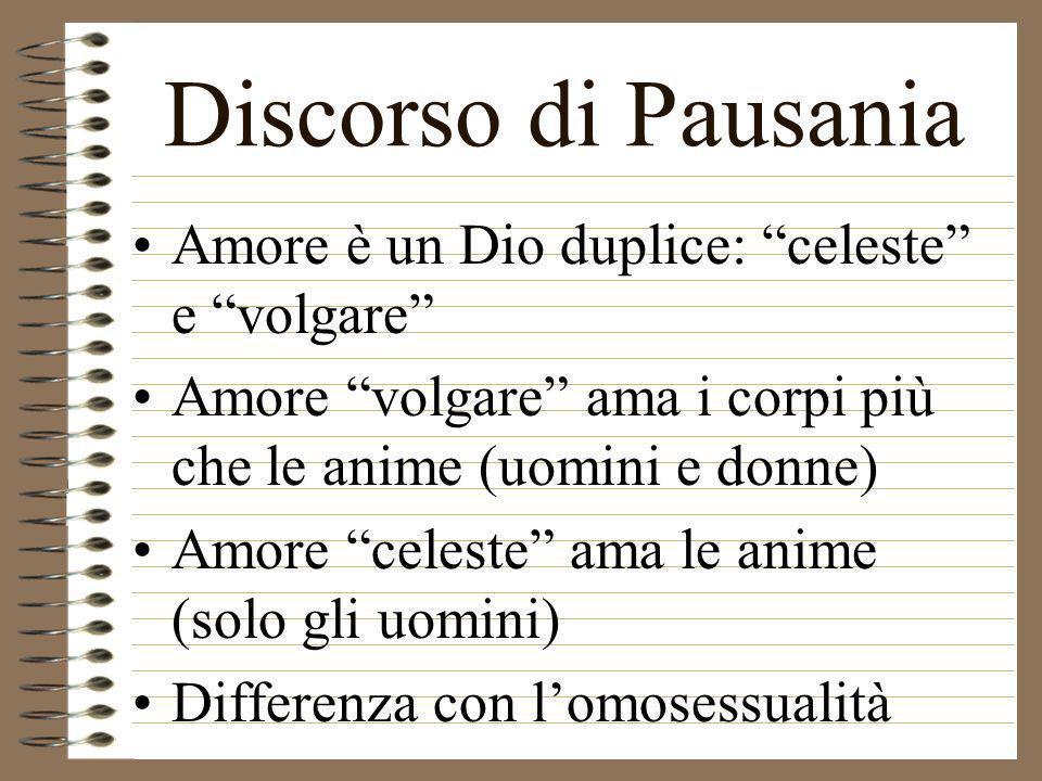 Discorso di Pausania Amore è un Dio duplice: celeste e volgare Amore volgare ama i corpi più che le anime (uomini e donne) Amore celeste ama le anime