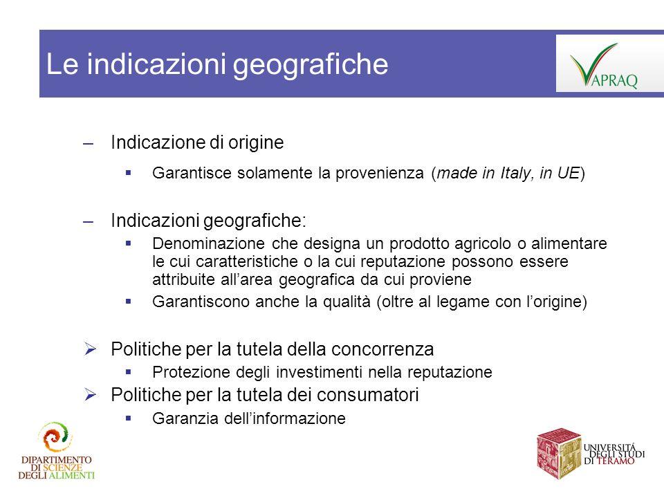 –Indicazione di origine Garantisce solamente la provenienza (made in Italy, in UE) –Indicazioni geografiche: Denominazione che designa un prodotto agr
