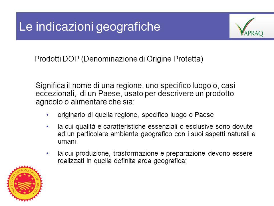 Prodotti DOP (Denominazione di Origine Protetta) Significa il nome di una regione, uno specifico luogo o, casi eccezionali, di un Paese, usato per des