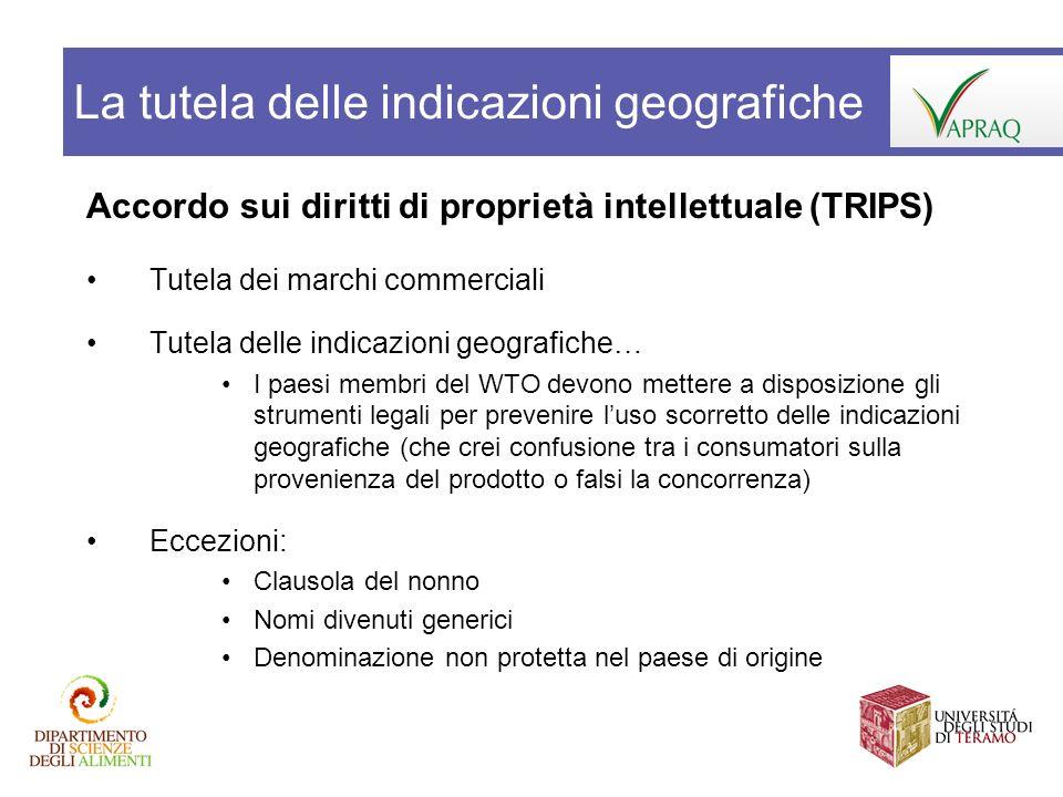 Accordo sui diritti di proprietà intellettuale (TRIPS) Tutela dei marchi commerciali Tutela delle indicazioni geografiche… I paesi membri del WTO devo