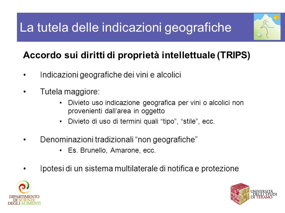 Accordo sui diritti di proprietà intellettuale (TRIPS) Indicazioni geografiche dei vini e alcolici Tutela maggiore: Divieto uso indicazione geografica