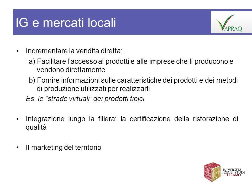 IG e mercati locali Incrementare la vendita diretta: a) Facilitare laccesso ai prodotti e alle imprese che li producono e vendono direttamente b) Forn