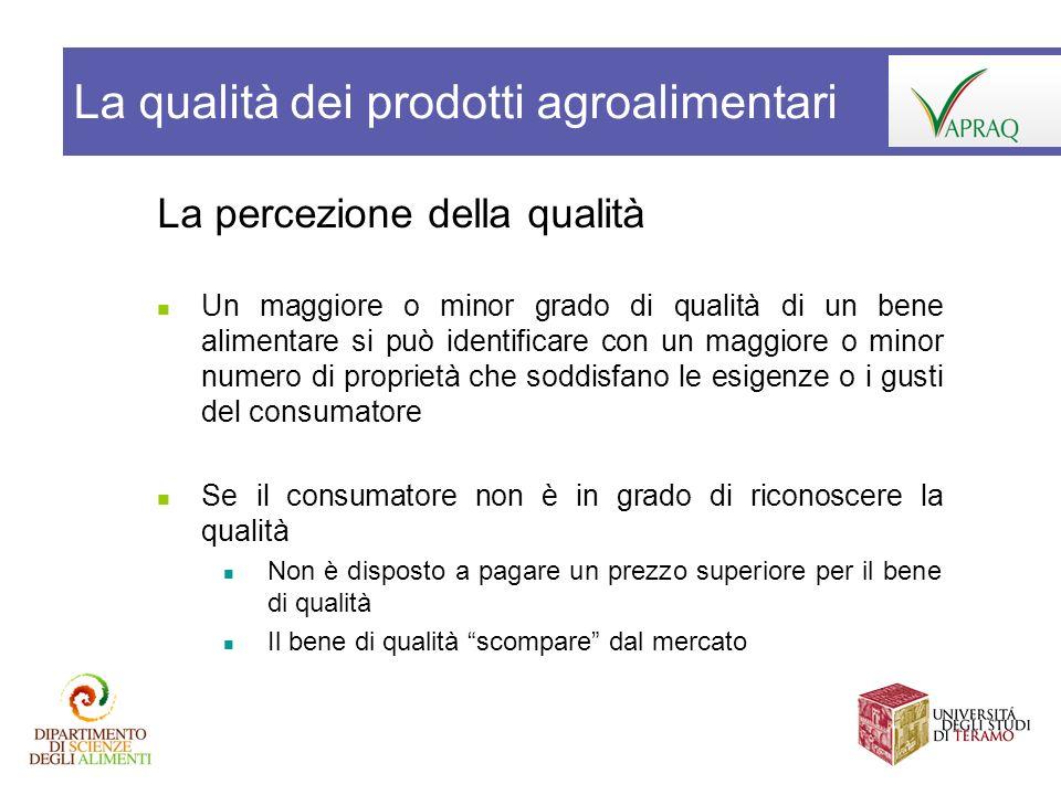 La percezione della qualità Un maggiore o minor grado di qualità di un bene alimentare si può identificare con un maggiore o minor numero di proprietà