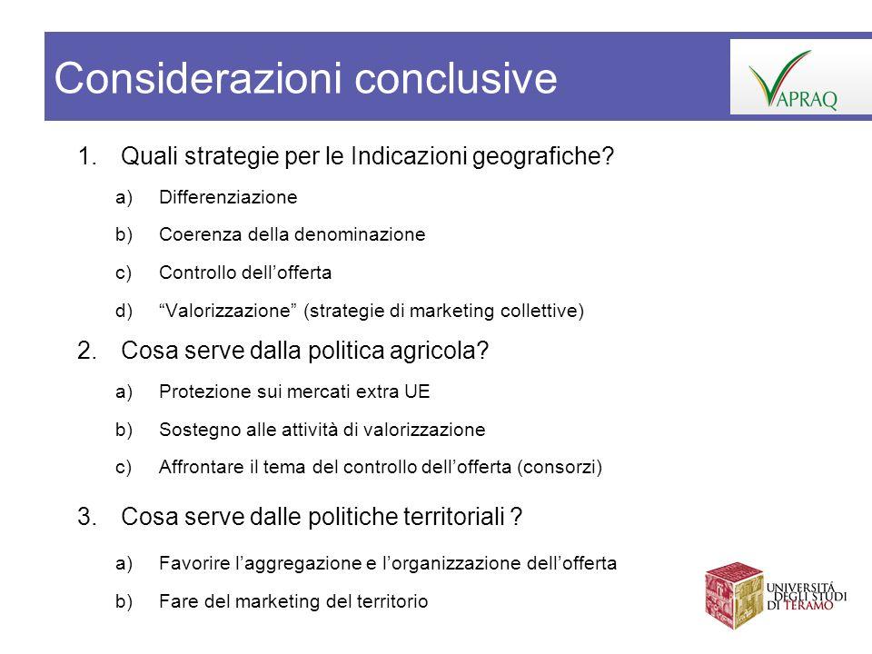 1.Quali strategie per le Indicazioni geografiche? a)Differenziazione b)Coerenza della denominazione c)Controllo dellofferta d)Valorizzazione (strategi